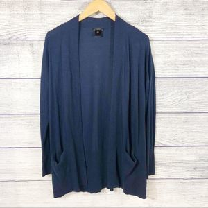 Ann Taylor Blue Open Cardigan with pockets